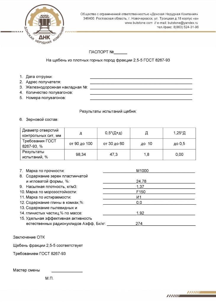 Паспорт для щебня фракции 2,5-5, стр. 1